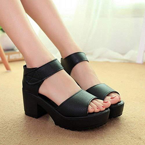 Pure Hauts Femmes Color 36 Velcro Bouche Muffin Poissons Talons Blanc Chaussures En Larges À Oudan Sandales Pour Noir Taille coloré UWxtF1