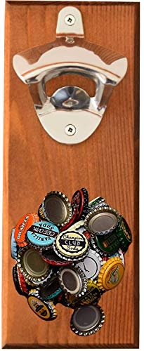 Wall Mounted Bottle Opener with Magnetic Cap Catcher - Beer Opener for Men & Women - Funny Birthday Present Idea and Unique Housewarming Gift Wood (Wall Mounted Bottle Opener With Magnetic Cap Catcher)