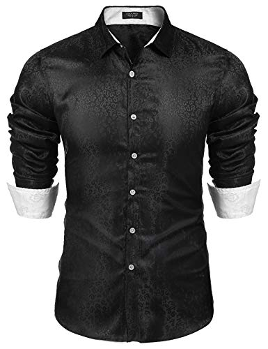 COOFANDY Men's Silk Cotton Shiny Print Shirt Dance Prom Party Disco Dress Shirt Black