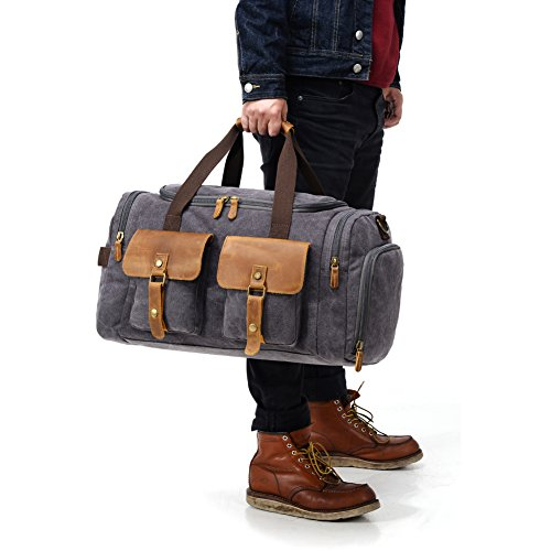 Canvas Duffle Bag Overnight Bags for Men Weekend Travel Duffel Weekender Bags for Women Canvas Leather Gym Travel Shoulder Tote Carry On Luggage Large with Shoes Compartment, College Student Gift by Kemy's (Image #1)