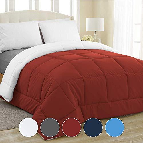 Equinox All-Season Crimson Red/White Quilted Comforter - Goose Down Alternative - Reversible Duvet Insert Set - Machine Washable - Hypoallergenic - Plush Microfiber Fill (350 GSM) Queen 88 x 88 Inches