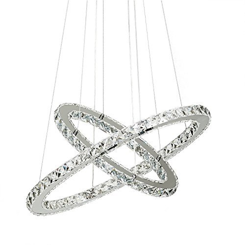 Chandeliers,Led Neutral light chandelier,Crystal Glass Chandelier Pendant Ceiling Lighting Fixture with Two Rings(40+60cm) for Dining Room, Living Room, Bedroom Study Room