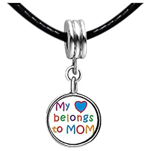 Chicforest Silver Plated Mother's Day Theme My heart belongs to Mom Photo Purple Amethyst Crystal February Birthstone Flower dangle Charm Beads Fits Pandora Charm