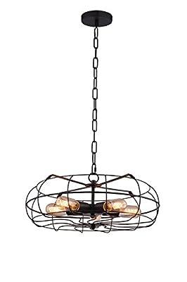 Metal Fan Style Light Fixture -16.5 inch diameter - Metal Wire Cage Ceiling Chandelier. Retro Vintage Industrial Loft Style - Great lighting fixture for bathroom, dining room, kitchen or bedroom