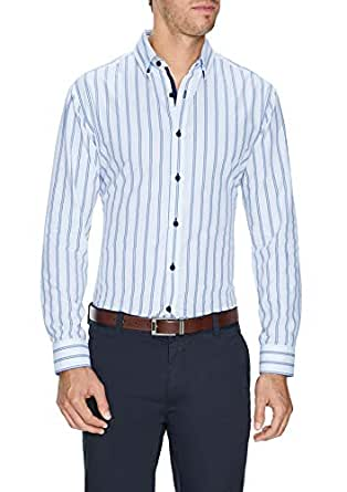 Tarocash Men's Eric Slim Stripe Shirt White S Slim Fit Long Sleeve Sizes XS-5XL for Going Out Smart Occasionwear