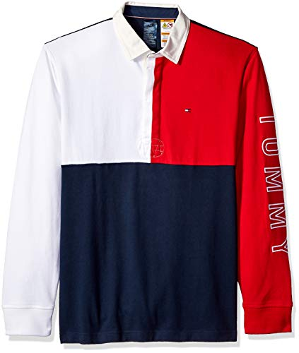 Tommy Hilfiger Men's Adaptive Rugby Shirt with Magnetic Buttons Regular Fit, navy blazer/multi, MD