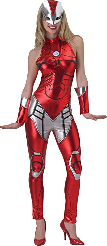 Marvel Secret Wishes Women's Universe Iron Man Secret Wishes Rescue Costume Cat Suit and Mask, Multicolor, (Iron Man Couples Costume)