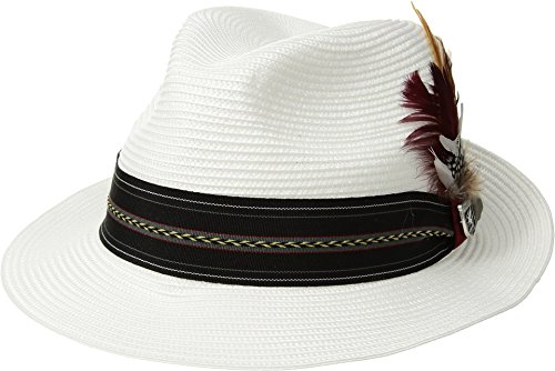 STACY ADAMS Mens Poly Braid Pinch Front Fedora with Fancy Band White MD One - Fedora Pinch Front