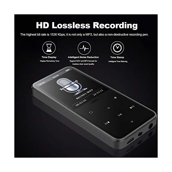 Bluetooth Mp3 Player 2.4 Inch Ultra-Thin Touch Screen Mp4 Lossless Music Dual 2.5D Glass Mirror Noise Reduction Recorder Pedometer 8G, Black,Black 6