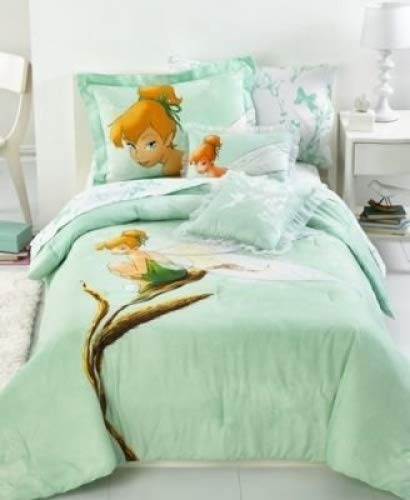 Disney Tinkerbell Tink Watercolor Full Size Comforter and Pillow Shams (Tinkerbell Sheets)