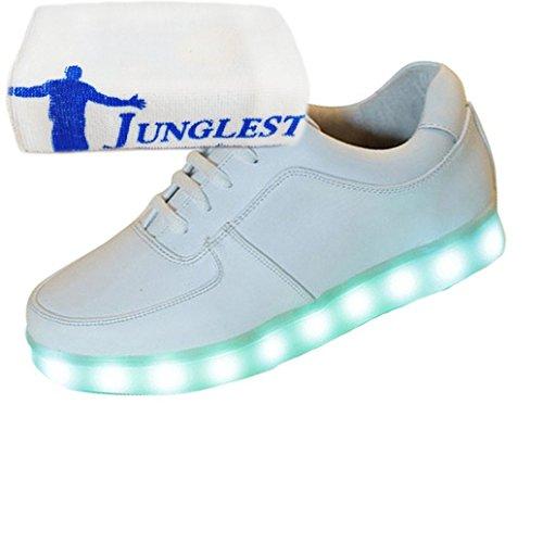(Present:kleines Handtuch)Silber 36 EU Damen Leuchtend USB Sport LED Farbe für 7 Schuhe Unisex-Erwachsene Aufladen Turnschuhe Herren mo GSyf9dl