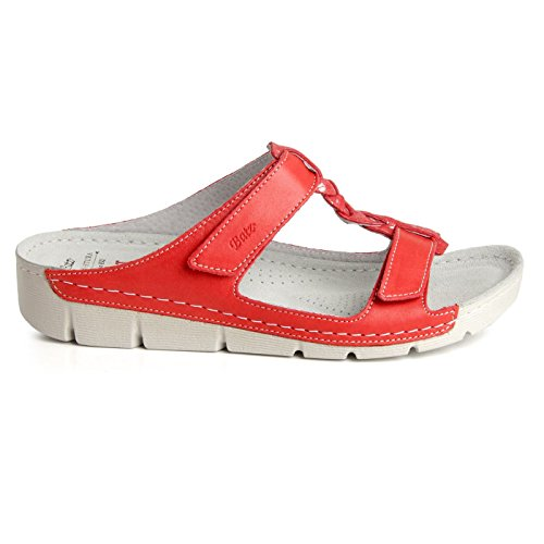 Leather Batz Sandals Clogs on Slip Ladies High Shoes Womens Quality BORI Slippers Coral Handmade Red Mule zrWwq4SIr