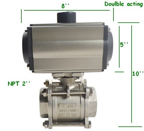 INTBUYING 2inch Pneumatic Ball Valve Single Acting Globe Threaded Stainless Steel 3 Piece