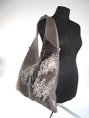 Bag Sholder Hobo Tote Taupe Brown Leather Fur Slouchy Grand Large Shopper Satchel Tribal Boho High Quality Designer Bag