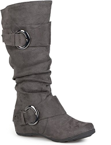 Journee Collection Womens Regular Sized and Wide-Calf Slouch Buckle Knee-High Microsuede Boots Grey, 7.5 Regular US