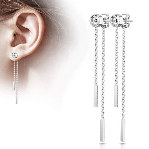 Silver Pair of 6mm Bezel Set Gem w/Double Bar Chains Free Falling 20g Earring ()