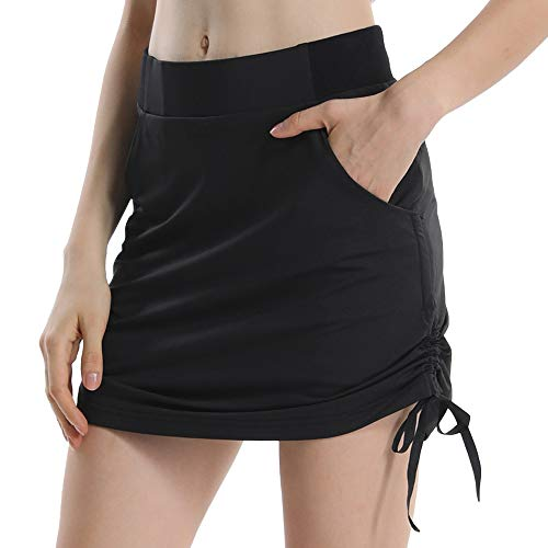 dea92d857a7 Women s Active Athletic Skort Lightweight Skirt with Pockets for Running Tennis  Golf Workout 805 Black