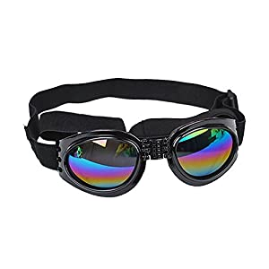 CarBoss Dog Sunglasses Pet Goggles Foldable UV Protection Eye Wear Fashion Toys Pet Sun Glasses with Adjustable Strap - Perfect Fits Over 15 Pounds Medium and Big Sized Dogs Colorful Len (Black)