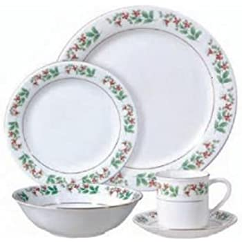 Gibson Holiday Gold Holly Charm 20 Piece Dinnerware Set  sc 1 st  Amazon.com & Amazon.com | Gibson Holiday Gold Holly Charm 20 Piece Dinnerware Set ...