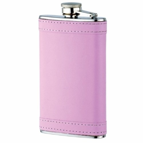 Pink 6oz Flask for the Ladies - Ladies Leather Flask Only Pink