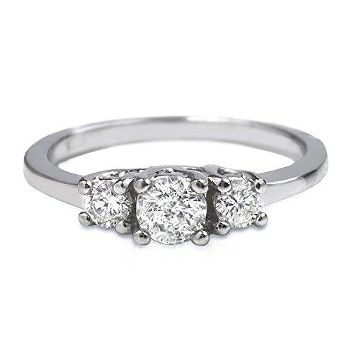 0.66 Carat Natural Diamond 950 Platinum Three-stone Engagement Ring for Women Size 6.5 (Diamond Ring 950 Platinum Rings)