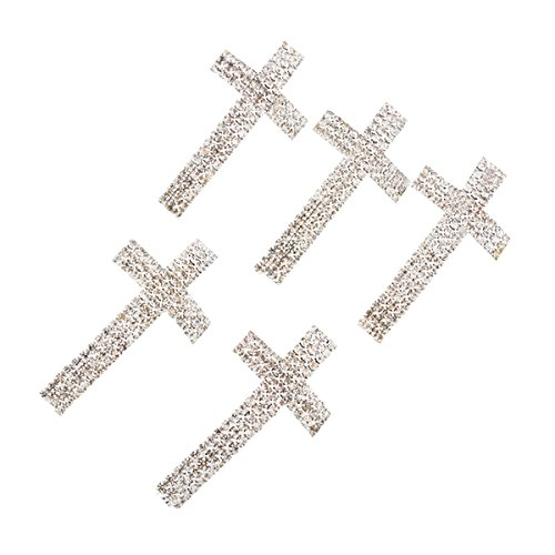 YC 5PCs Silver Plated Clear Rhinestone Cross Curve Tube Spacer Beads 4.7x2.4cm Loose Metal Beads Craft DIY Jewelry Making Findings Charms Pendants - Cross Spacer