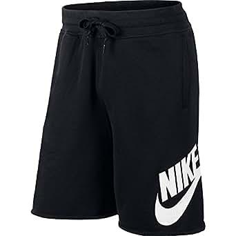NIKE Mens AW77 Alumni Printed Athletic Shorts, Black/White, Large, 633465 014