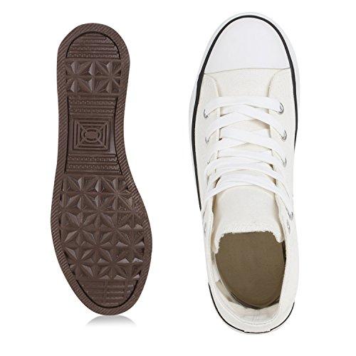 best-boots Damen High-Top Sneaker Schnürer Slipper Halbschuhe Sportlich Weiss Nuovo