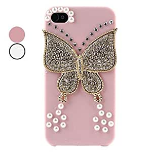 Butterfly Rhinestone Hard Case for iPhone 4 and 4S (Assorted Colors) --- COLOR:Pink