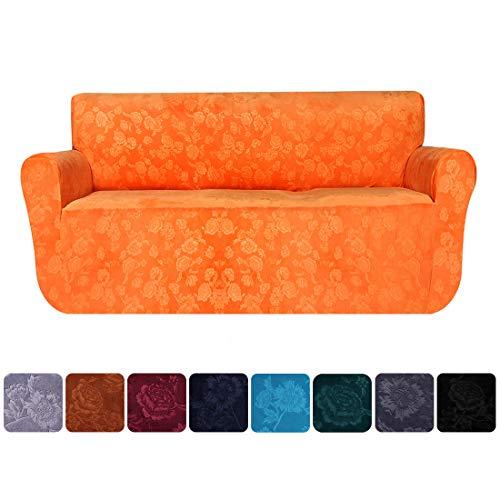 smiry Velvet Stretch Sofa Cover Soft Non Slip Furniture Protector, 1 Piece Spandex Embossing Flower Couch Sofa Slipcover (Loveseat, Orange)