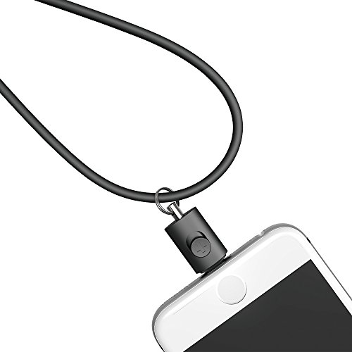 Simplism Lightning connector strap for iPhone,iPod prevent dropping (Black)