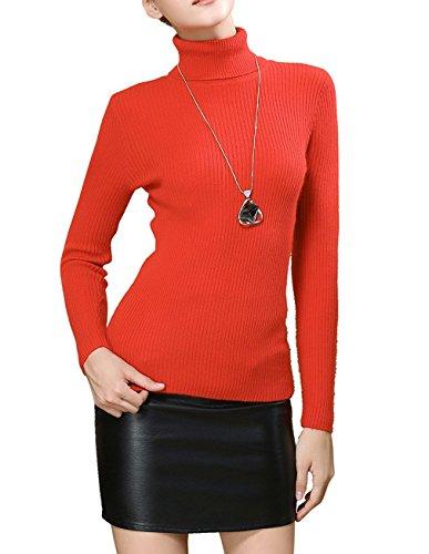 Fengtre Turtleneck Pullover Sweater, Women's Cashmere Stretchy Basic Knit Top,Bright Orange L]()