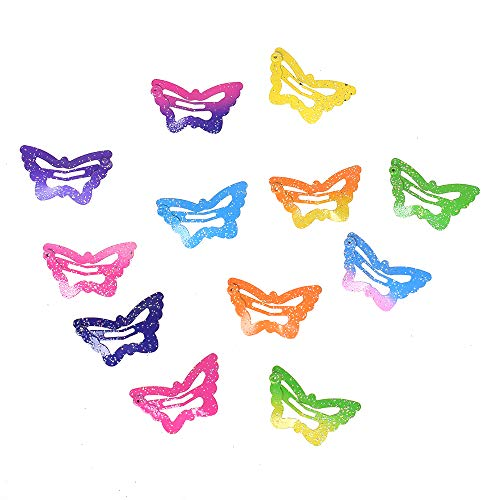 12 Pcs/Set Star Butterfly Shape Hair Snap Clips 2.5 Cm Hairpins Colorful Glitter Pentagram Metal Hair Clips Cute butterfly ()