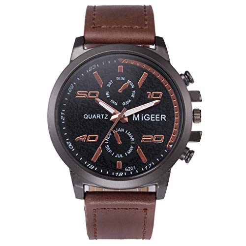 Fyhuzp Men's Quartz Stainless Steel and Leather Casual Cuff Watch ()