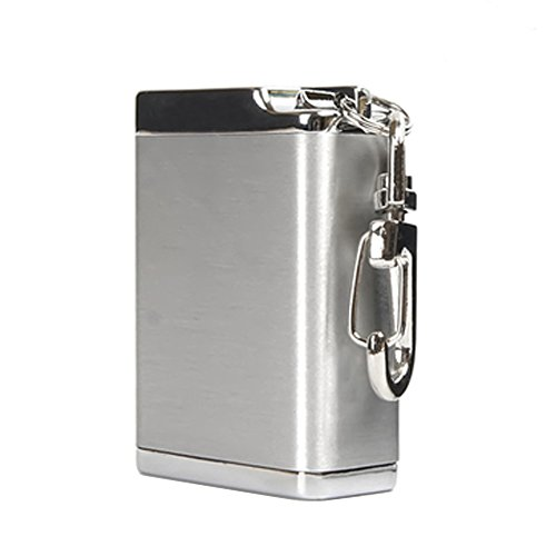 Honoro Metal Portable Ashtray,Outdoor Cigarettes Ashtray with Lid,Keychain,Rectangular Big Size Silver