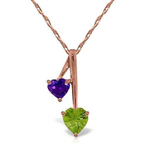ALARRI 14K Solid Rose Gold Hearts Necklace w/ Natural Amethysts & Peridot with 18 Inch Chain Length ()