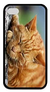 covers durable sleeping kitty hd TPU Black Case for iphone 4/4S
