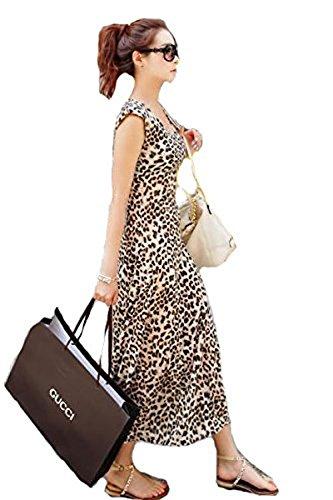 Damen Sexy Herrlich Leopard Maxi Kleider