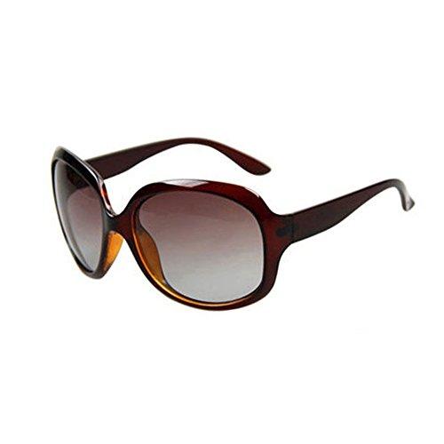 Protección gafas UV Color sol Luz Polarizada Anti Decoración WYYY 1 UVA 100 Solar Retro Clásico Borde 2 Brown De Sra Conducción Brown Gafas Grande Protección de 6Hx1d