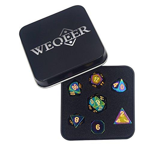 WEQEER RPG Metal Dice Set - 7 Rainbow Color Dice with Black Tin ()