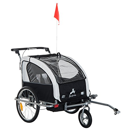 Aosom Elite II 3in1 Double Child Bike Trailer, Stroller & Jogger – White (Baby Bike Trailer)