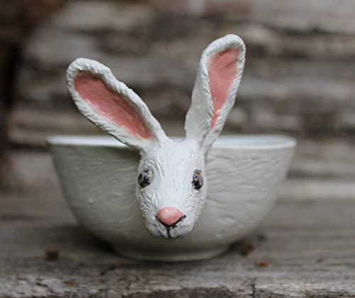 Ware Cereal - White Hare Ceramic Bowl, Hand sculptured bunny soup bowl, rabbit bowl, childrens tableware, handmade cereal bowl, Soup mug
