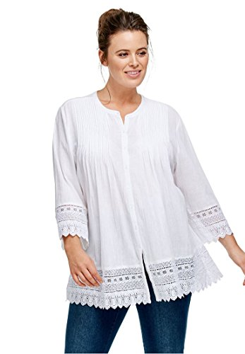 Ellos Women's Plus Size Crochet Trim Blouse White,5X - Trim Gauze