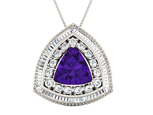 Libertini pendentif argent 925 femme serti de Diamant et Améthyste