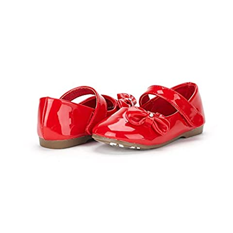 Dream Pairs ANGEL-5 Adorable Mary Jane Side Bow Velcro Strap Ballerina Flat (Toddler/ Little Girl) New Red Pat Size 9