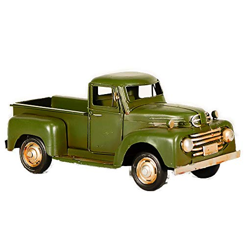 Decorative Truck - EliteTreasures Green Metal Rustic Pickup Truck - Retro Chic Decor Charm - Vintage Look Style Ornament - Industrial Farmhouse Figurine - Decorative Collectible Vehicle