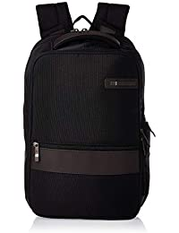 Kombi Small Business Backpack with Smart Sleeve, Black/Brown, 16.25 x 10.5 x 5-Inch
