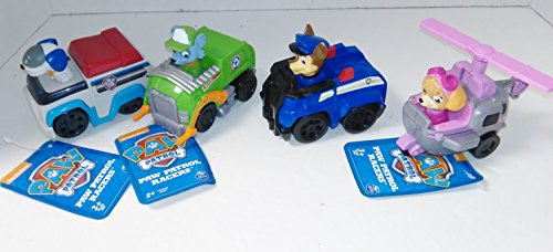 Exotic Butter (Set Of Four Paw Patrol Figure/ Skye/ ROcky/ Robo Cop/ Marshall with Vehicles)