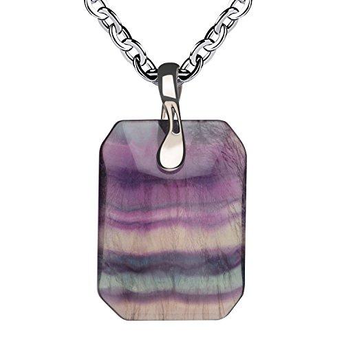 iSTONE Unisex Genuine Gemstone Fluorite Pendant Necklace for Men Women 18 Inch Chain (Crystal Pendant Fluorite)