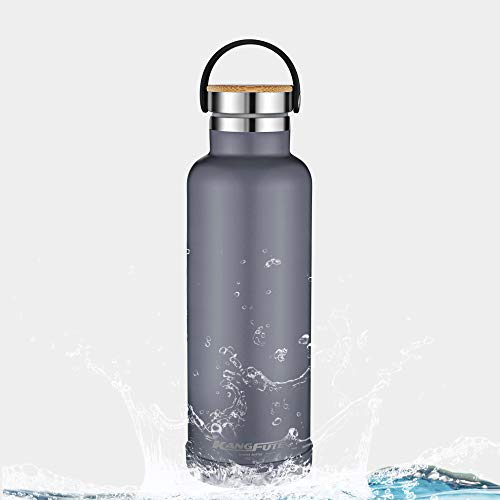 Narrow Mouth Bottle - KANGFUTE Double Walled Vacuum Insulated Water Bottle, 18/8 Stainless Steel Narrow Mouth Thermo Flask, BPA Free and Leak Proof Lid, Keeps Drinks Hot for 24 Hours, Cold for 12 Hours Grey 26oz